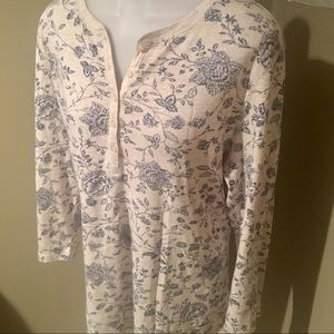 Chaps Women's Floral Print Soft Tunic SZ 1X